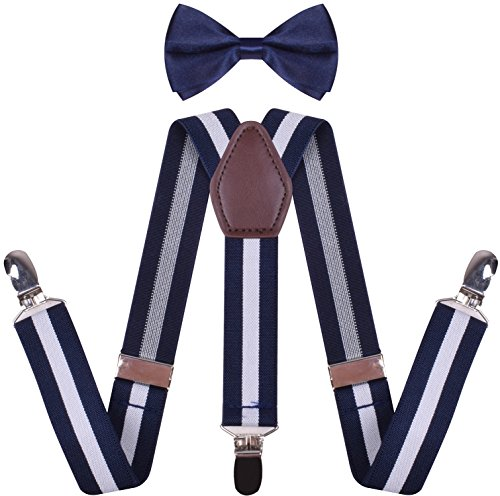 (WDSKY Toddler Boys' Bow Tie and Suspenders Set Y Back Adjustable Navy White Stripe 26 Inches )