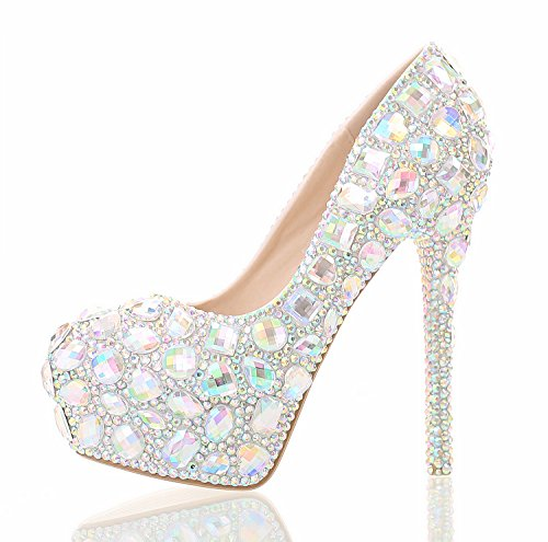 Single Shallow Heel 8 Waterproof Colorful Wedding Heel Head Prom Crystal Sandals Bridal Night Show Table Shoes 12Cm Round Women'S High Rhinestone Hole VIVIOO PwSHqB1P