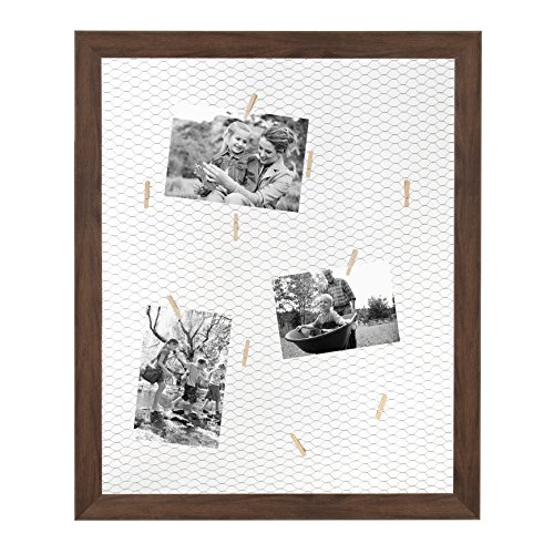 DesignOvation Beatrice Framed Chicken Wire Clip Collage, Walnut Brown - Comes with 12 Mini Clothespins (Chicken Frame Photo Wire)