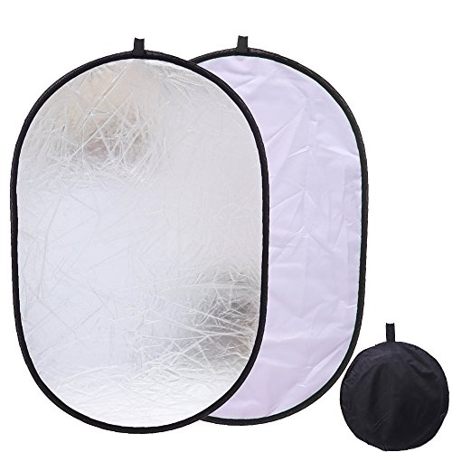 Collapsible 2 in 1 Oval Reflector 35 x 47 inch (90 x 120cm) Soft Box Lighting Photo Photography Video Studio Silver White Reflectors Disc