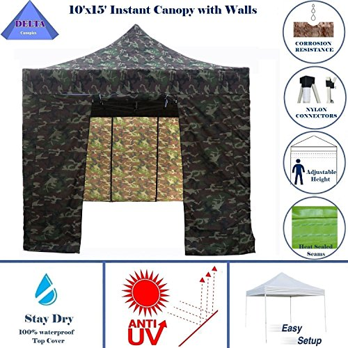 10'x15' Ez Pop Up Canopy Party Tent Instant Gazebos 100% Waterproof Top with 4 Removable Sides Camouflage - E Model By DELTA (Camouflage Canopy)