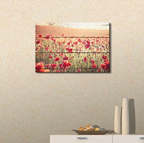 Poppy Flowers on Vintage Wood Background