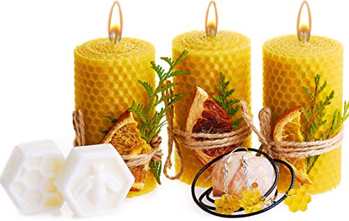 Beeswax Gifts Box. Set of 3 Pillar 100% Beeswax Candles with Natural Honey Scent (Size 3.3 x 1.8 in), Honeycomb Jewelry and 2 Shea Butter Soap ()
