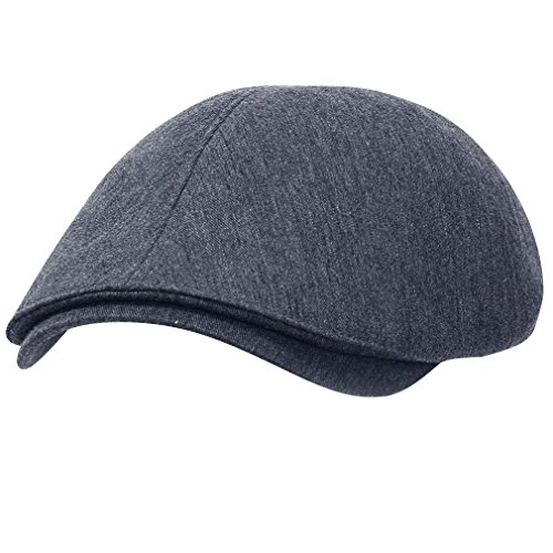 ililily Cotton Flat Cap Cabbie Hat Gatsby Ivy Cap Irish Hunting Hat Newsboy (One Size, Blue Grey)
