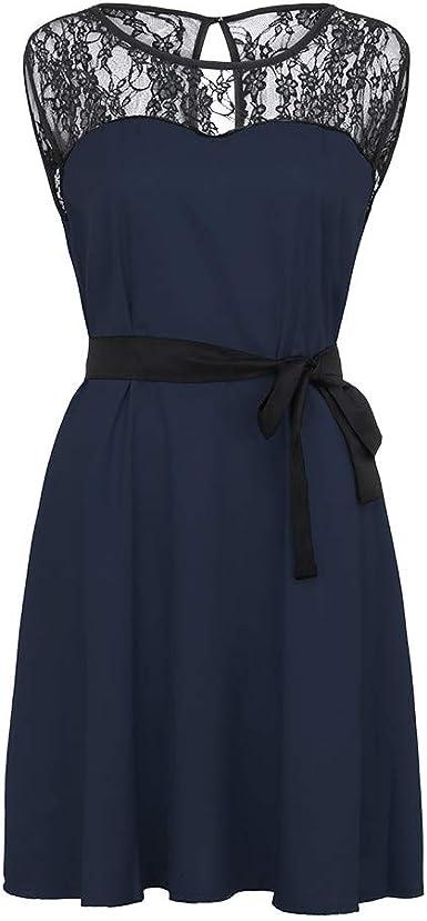 Vestido de Noche Vintage Retro 1950S Audrey Hepburn Vestido de Noche sin Mangas con Encaje años 50 Rockabilly Vestido para Mujer de Verano y Mujer Azul Marino XL: Amazon.es: Ropa y accesorios