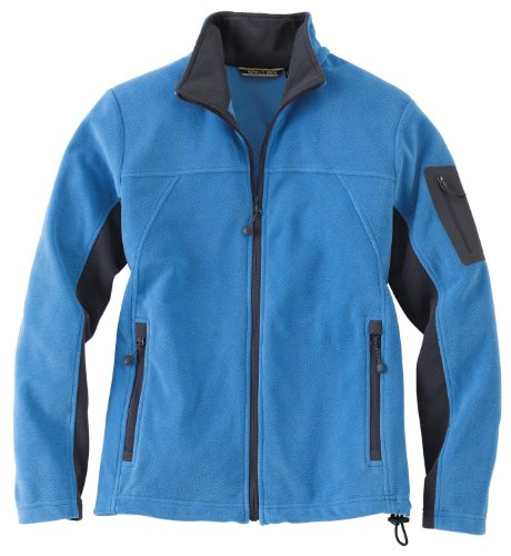 Ladies' Full Zip Microfleece Jacket, Color: Lake Blue w/Fossil Grey, Size: Large