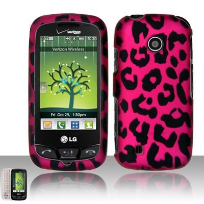 Hot pink leopard design phone case that fits on to your LG Cosmos Touch VN270