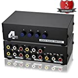 Metal Case Mechanical 4-way AV Switch CVBS RCA Splitter 4 Port Switch Adapter 4 In 1 Out Composite L/R Audio Video Switcher Selector BOX for DVD STB Game Consoles