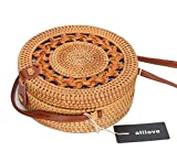 Rattan Boho Purse Handwoven Straw Bag (blue floral flower snap)