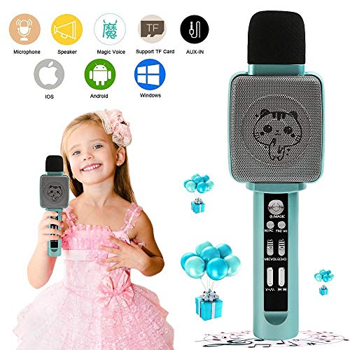 TSUN Kids Karaoke Machine,Wireless Portable Handheld Karaoke Microphone with Bluetooth Speaker,Echo,Voice Changer and Song Recorder,Best Karaoke Microphone for Kids,Top Birthday Gifts for Girls Boys (Best Girl Voice Changer)