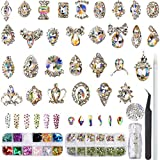 Rhinestones for Nail Art, Glass Crystal AB Multi Shapes Rhinestones and 3D Nail Metal Gems, Pixie Mini Beads & Nail Decorations Butterfly Sequins (Color: rhinestone set and 3D nail jewels gems)