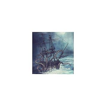 Personalizada pulpo Kraken vela barco pirata barco océano mar ola manopla Dish Cloth Toallas de baño