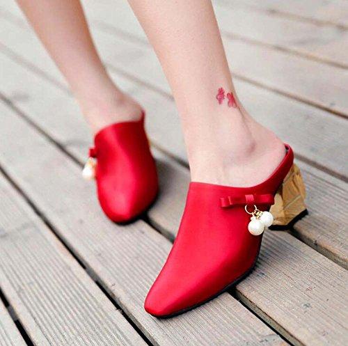 perla de 40 señaló la Zuecos Size Rojo dedo del Casual mulas del 35 Chunky mujer y para Heel SHINIK Red pie wzH5f5q