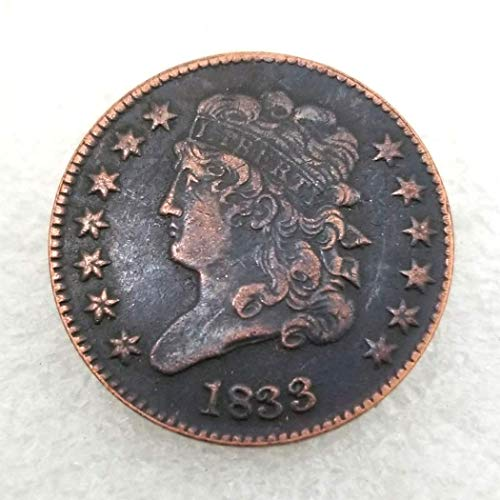 GreatSSCoin 1833 Antique US Liberty Half-Cent Coin - Great American Commemorative Old Coins - USA Uncirculated Morgan Dollars-Discover History of US Coins Great Uncirculated Coin ()