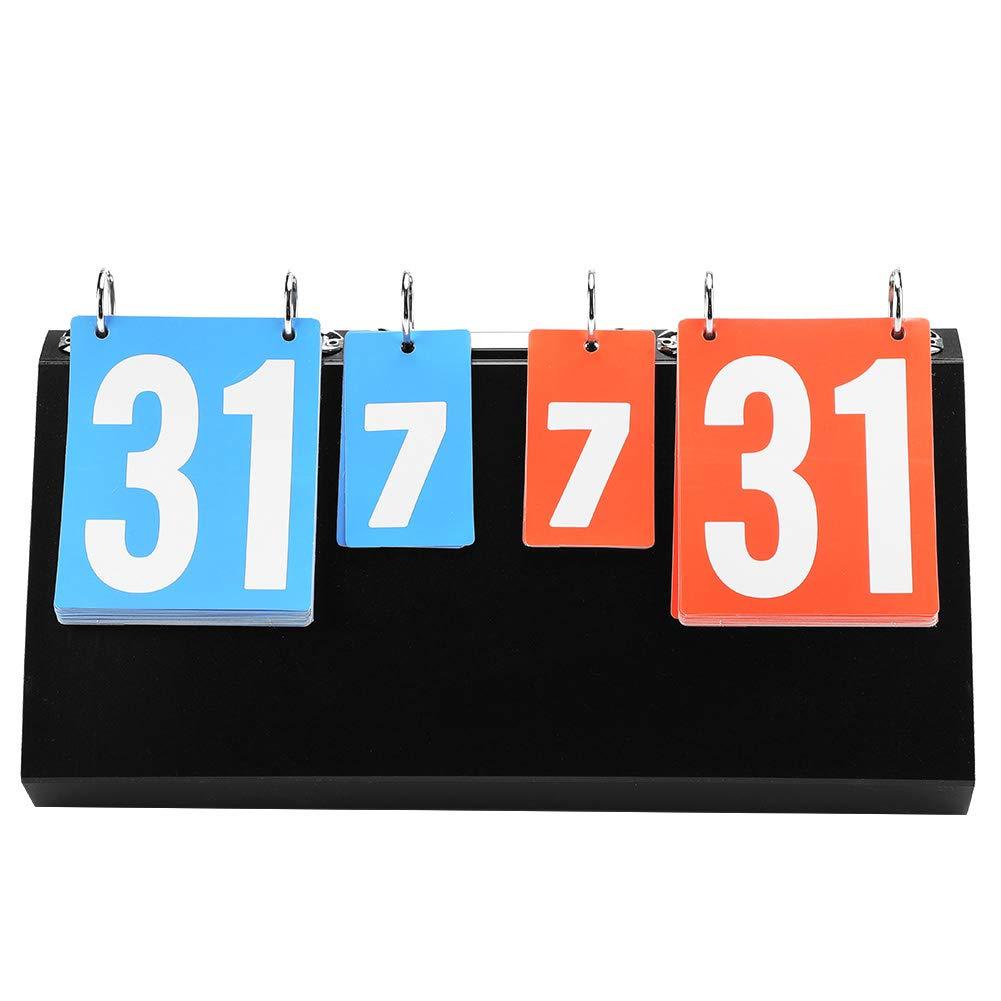 4 Digit Tabletop Flip Score Board 4-Digit Tabletop Score Flipper Score Board Portable Scoreboard for Basketball Table Tennis Football Badminton SolUptanisu Sports Flip Scoreboard