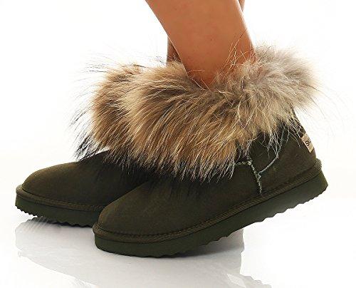 SKUTARI Wildleder Damen Winter Boots | Warm Gefüttert | Schlupf-Stiefel mit Stabile Sohle | Weiche Fell Schuhe Green