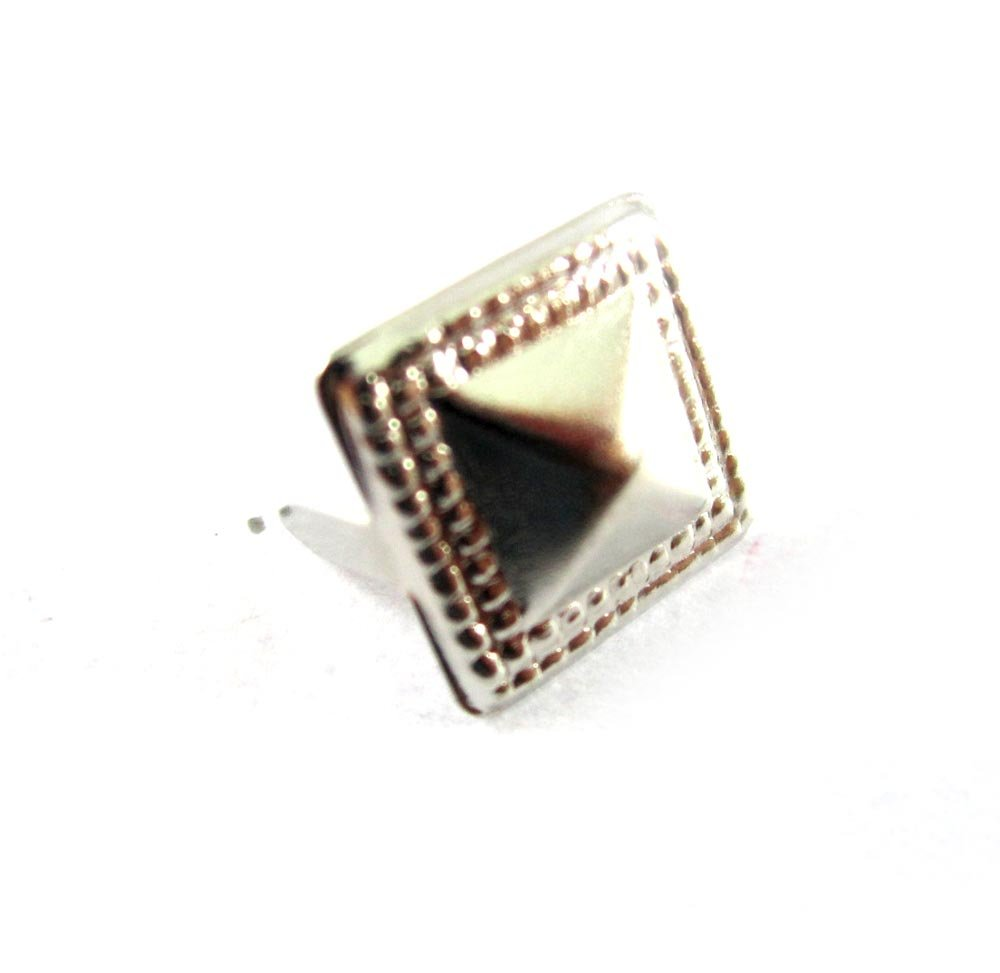 50 pcs - 7/16 inches Nailheads Spots Silver Pyramid Studs - 2 Prong (2 legs) Square Stud Spike - for DIY Leather craft , bag , shoes , on clothes fashion by Studs Florist B00BIJSCM0