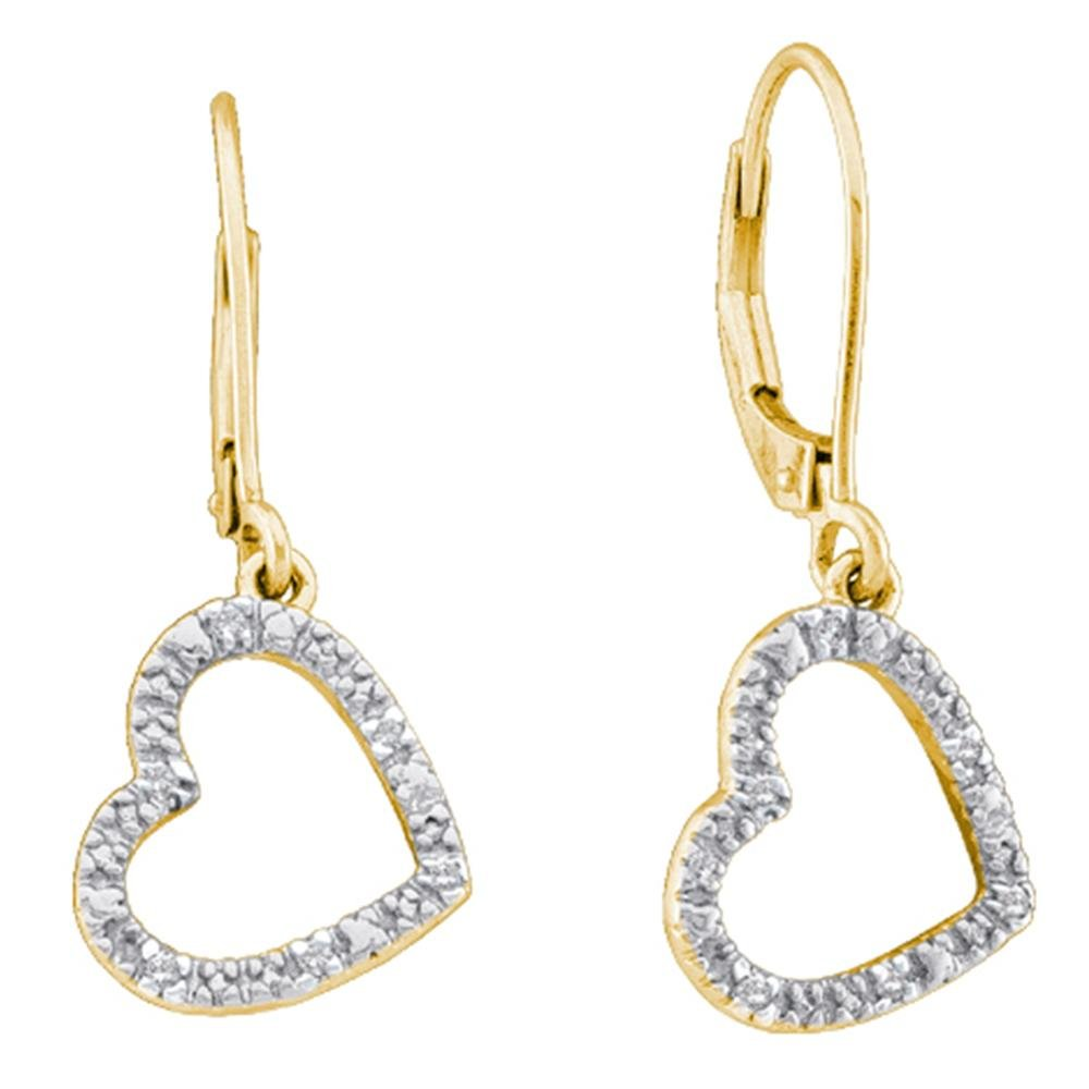 10kt Yellow Gold Womens Round Diamond Heart Love Dangle Earrings 1/20 Cttw