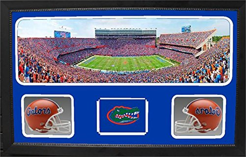 Encore Select 657-04 NCAA Florida Gators Custom Framed Sports Memorabilia with Two Mini Helmets Photograph and Name Plate by Encore