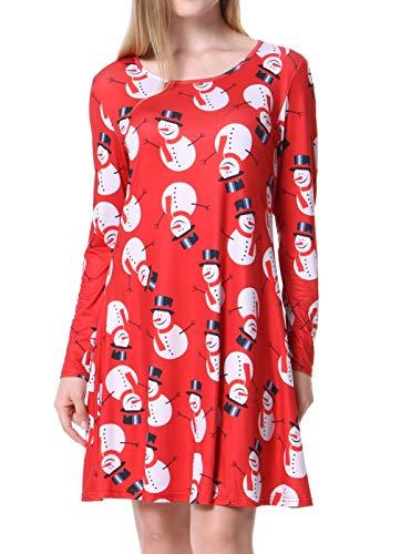 Mixfeer Women's Christmas Dress Santa Print Flared A Line Dress Party Dress