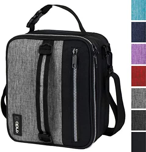 OPUX Premium Insulated Lunch Box for Men, Women | School Lunch Bag for Boys, Girls, Kids | Compact Adult Lunch Pail Work Office Cooler | Soft, Leakproof, 4 Ways to Carry | Fits 12 Cans (Heather Grey)