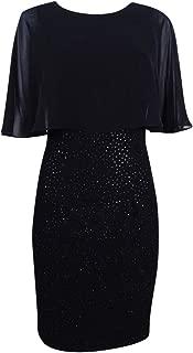 product image for Betsy & Adam Women's Plus Size Chiffon-Popover Dress (22W, Black)