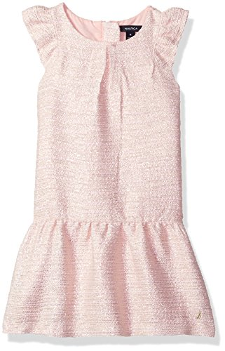 Nautica Girls' Toddler Metallic Tweed Drop Waist Dress, Light Pink, 2T