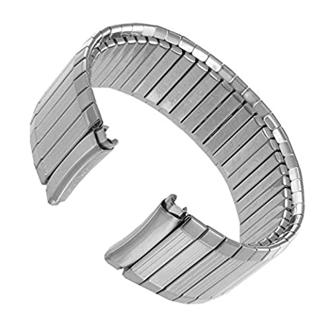 16-19mm Speidel Curved End Twist-O-Flex Silver Tone Stainless Watch Band 1395/02 - Curved Twist