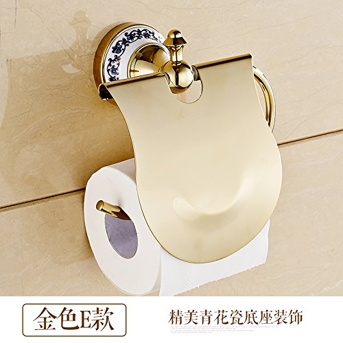 Surnoy All Copper Gilt Paper Towel Stand Golden Blue and White Porcelain European Roll Paper Holder Paper Towel Rack Toilet Paper Holder Paper Towel Boxe -