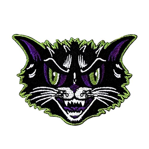 Angry Cat Patch Kreepsville Scary Feline Face Halloween Craft Iron-On Applique -