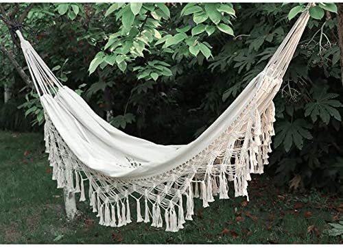 Hiplus Handmade Boho Large Brazilian Macrame Fringe 2 Person Double Deluxe Hammock Swing Net Chair
