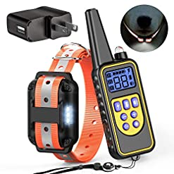 Funnipets Dog Training Collar 2600ft Waterproof Dog Shock Collar With Remote For Medium And Large Dogs Safe Reflective Collar And Led Light 4 Training Modes Light Beep Vibration Static Shock