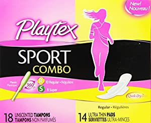 Playtex Sport Combo Pack with Regular and Super Tampons and Ultra Thin Pads with Wings