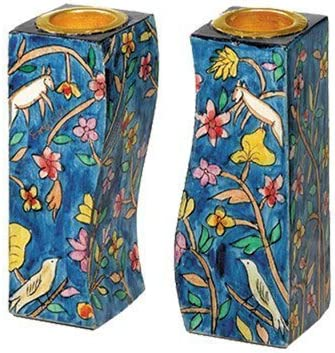 Amazon Com Flowers And Birds Fitted Shabbat Candlestick Holders Hand Painted By Yair Emanuel With Brass Candle Inserts Everything Else