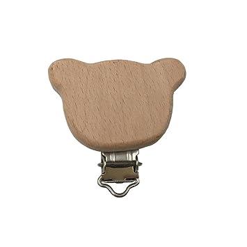 Amazon.com: Clips para chupete de madera de haya natural ...