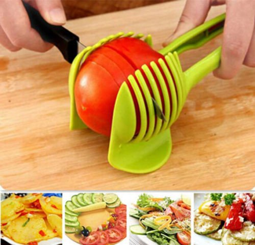 """Laytek Tomato Slicer, Multi-functional Handheld Tomato Round Slicer, Fruit Vegetable Cutter, Lemon Shredders Slicer, With the Special Hook 4 Material : ABS Mold Size :18.5 x 8 CM /7.3 """"X 3.1"""" Package Includes : 1 x HandHeld FruitS Round Slicer With this tomato slicer,you'll create perfect tomato slices everytime,This kind of fruit and vegetable slice assistant design novel, beautiful, bright color, easy to operate, safe and reliable. Add the tomato slicer along each gap from the top down the you could cut it into pieces"""