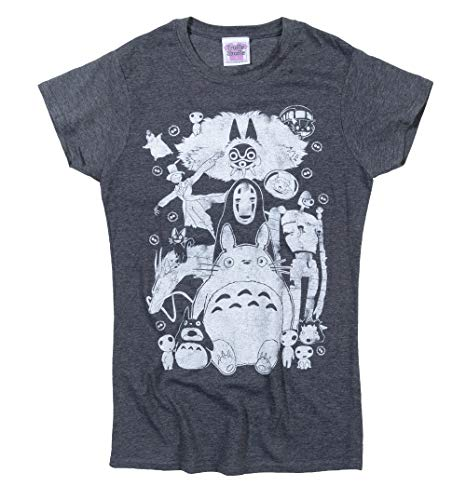 TruffleShuffle Womens Ghibli Gang Fitted T Shirt Black/Charcoal