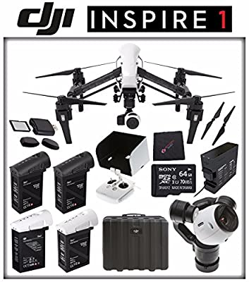 DJI Inspire 1 v2.0 Quadcopter with 4K Camera and 3-Axis Gimbal + DJI TB47 Intelligent Flight Battery + DJI Battery Charging Hub + DJI 1345T Quick-Release Props + Card Reader + Sony 64GB Card Bundle