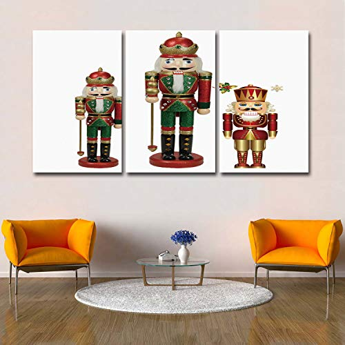 - Libaoge 3 Panels Canvas Wall Art - Omber Poster Art The Nutcracker Soldier Modern Artwork for Bedroom Living Room Office Home Decoration - Ready to Hang, 24