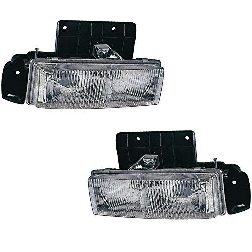 Headlight Headlamp & Bracket Mount Pair Set Kit for 95-05 Chevy Astro Van