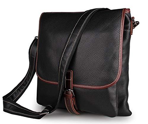 JUNJIAGAO-Bags Mens Crossbody Leather Crossbody Bag Mens Leather Postman Bag Leather Shoulder Bag Color : Black, Size : L