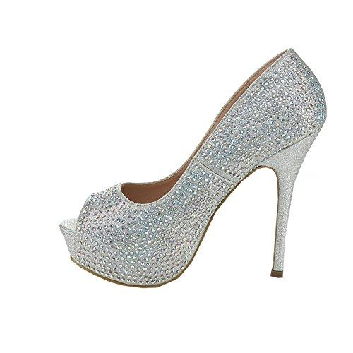 Womens Stiletto Platform Toe Rhinestone Luna Glitter Bella Peep Silver 01 Belle Heels Ytwqz7