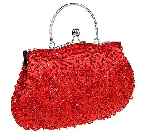 ThyWay Beaded Sequin Design Metal Frame Kissing Lock Satin Interior Evening Clutch (Red)