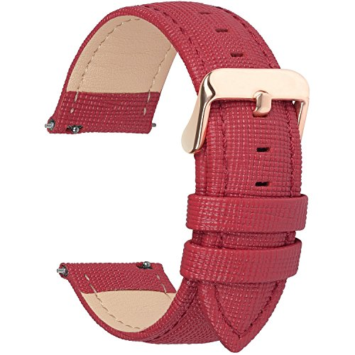 6 Colors for Quick Release Leather Watch Band, Fullmosa Cross Genuine Leather Replacement Watch Strap with Stainless Metal Clasp 22mm Red