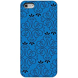 CUSTOM Black Hard Plastic Snap-On Case Cover for Apple iPhone 4 / 4S - Dark Blue Black Floral Pattern