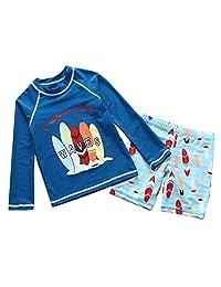 Happy Cherry Boys Two Piece Rachguard Swimsuit Cartoon UPF 50 Quick Dry Sunsuit