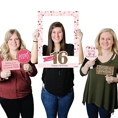 Sweet 16 - Birthday Party Photo Booth Picture Frame & Props - Printed on Sturdy Plastic Material