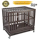 Gelinzon Heavy Duty Dog Cage Crate Strong Metal Kennel for Large Dogs, Easy to Assemble Pet Playpen with Four Wheels