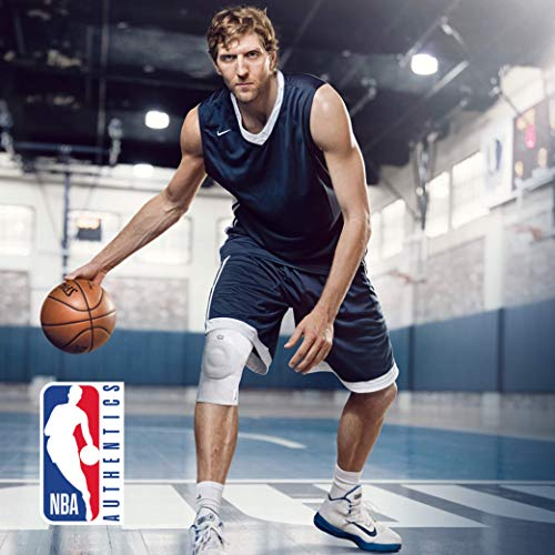 Bauerfeind GenuTrain NBA Knee Brace - Basketball Support with Medical Compression - Sleeve Design with Patella Pad Gel Ring for Pain Relief & Stabilization (White, XS) by Bauerfeind (Image #5)