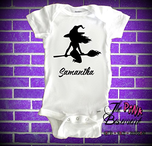 HANDMADE Name Personalized Custom Babies Onesies Halloween Witch Evil Goth Gothic Wiccan Girls Baby Clothes Newborn Onesie Gift Shower clothing kids ()